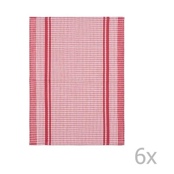 Sada 6 červených bavlnených utierok Tiseco Home Studio Waffle, 50 × 70 cm