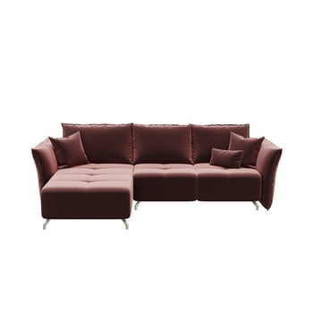 Canapea extensibilă cu șezlong pe partea stângă Hermes roz închis