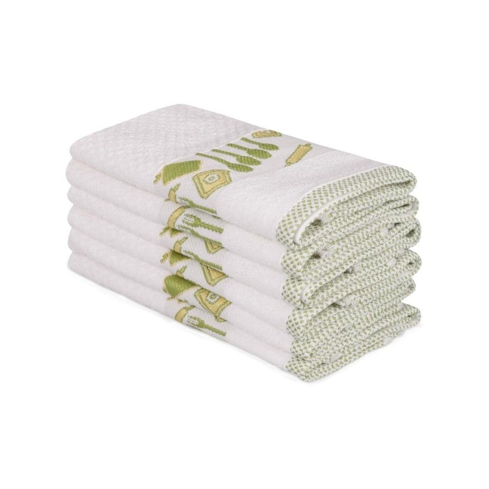 Sada 6 béžových bavlněných ručníků Beyaz Pantojo, 30 x 50 cm