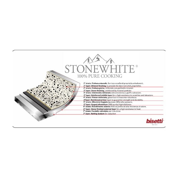WOK pánev s rukojetí ve stříbrné barvě Bisetti Stonewhite Dario, ø28 cm