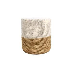 Puf z palmového dřeva s bílým detailem HSM collection Raffia, 40 x 50 cm
