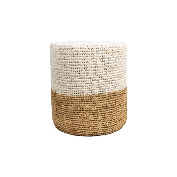 Puf z drewna palmowego z białym detalem HSM collection Raffia, 40x50 cm