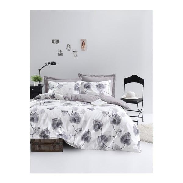 Lenjerie de pat cu cearșaf din bumbac ranforce, pentru pat dublu Mijolnir Colin Grey, 200 x 220 cm