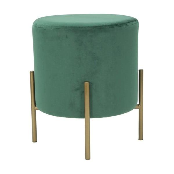 Puf cu picioare metalice aurii Mauro Ferretti Rotondo, verde