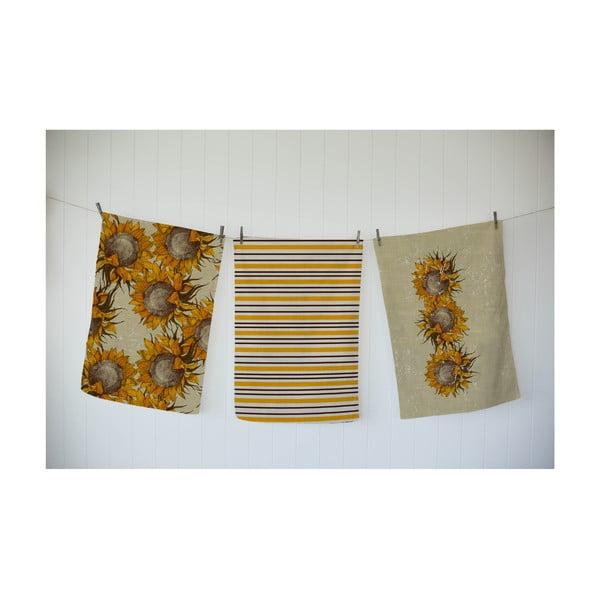 Komplet 3 ścierek Linen Couture Sunflower
