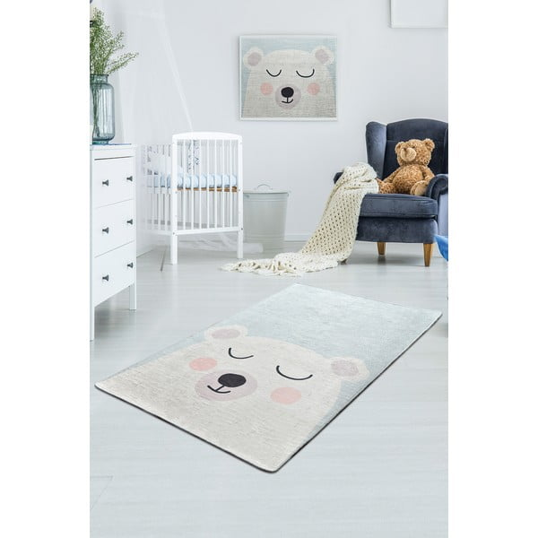 Bílo-modrý dětský protiskluzový koberec Chilai Baby Bear,100x160cm
