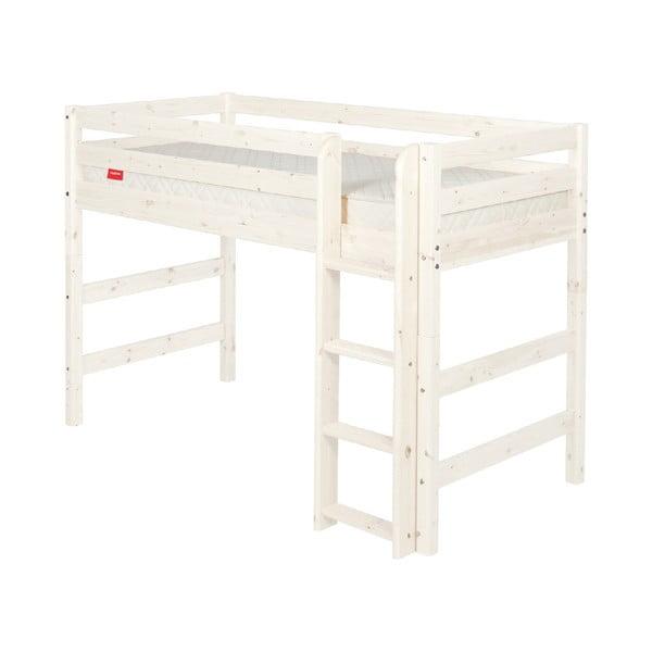Bílá dětská vyšší postel z borovicového dřeva Flexa Classic, 140x200cm