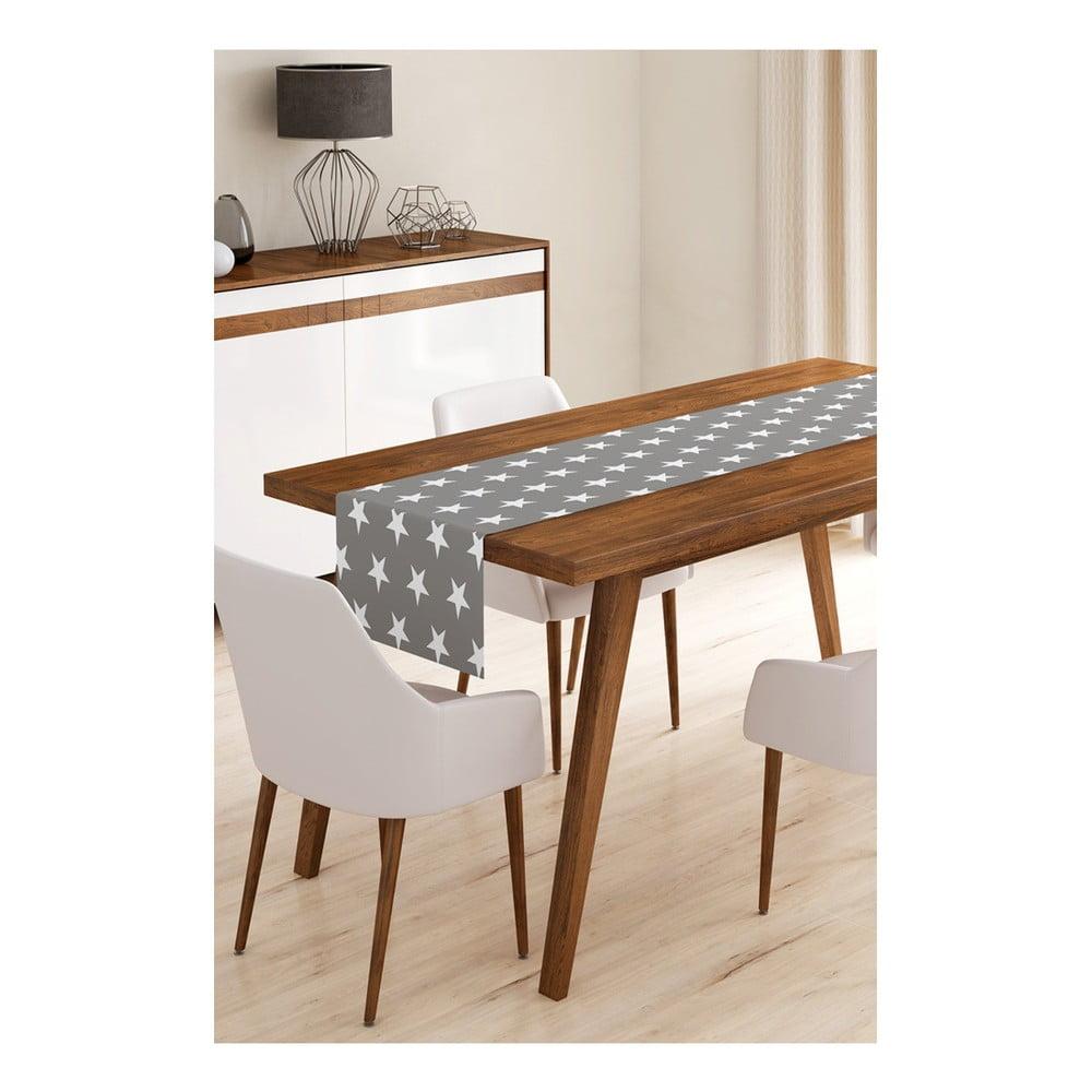 Produktové foto Běhoun na stůl z mikrovlákna Minimalist Cushion Covers Grey Stars, 45x145cm