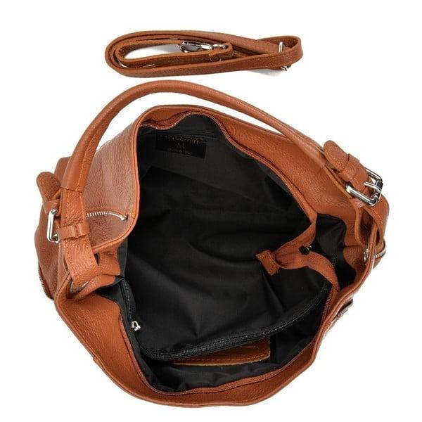 Koňakově hnědá kožená kabelka Mangotti Bags Iris