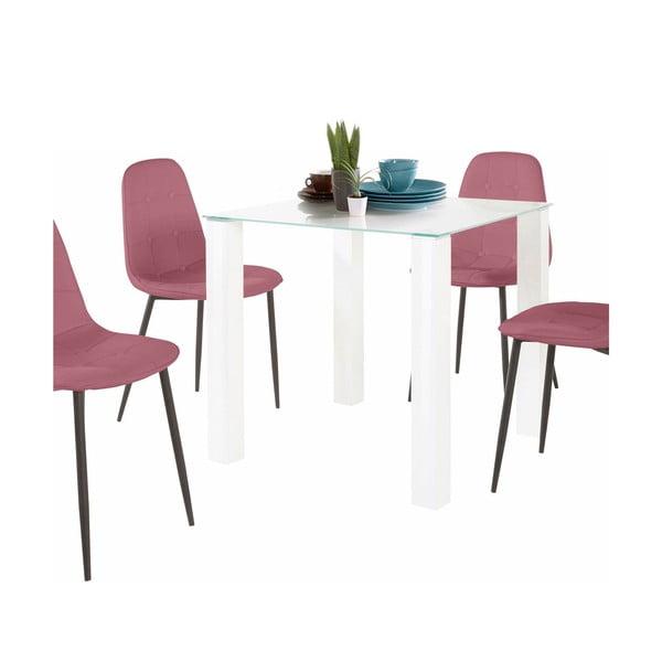 Sada jídelního stolu a 4 růžových židlí Støraa Dante, délka stolu 80 cm