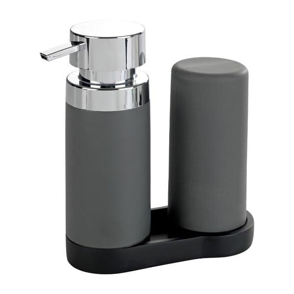 Set 2 dozatoare pentru detergent de vase și săpun lichid Wenko Squeeze, 250 ml, gri