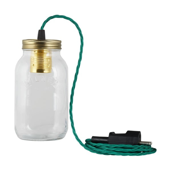 Svítidlo JamJar Lights, zelenomodrý kroucený kabel