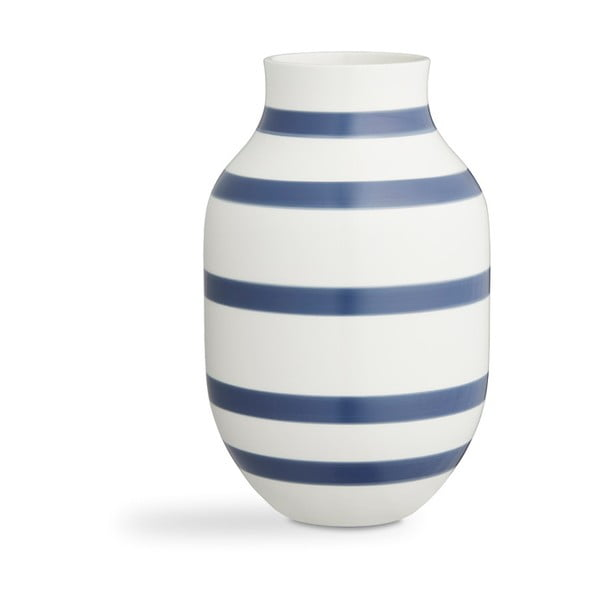 Modro-biela kameninová váza Kähler Design Omaggio, výška 30,5 cm