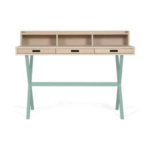 Pracovní stůl z dubového dřeva se zelenými kovovými nohami HARTÔ Hyppolite, 120x55cm