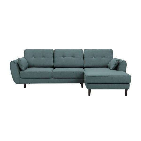 Laila zöld háromszemélyes kanapé, jobb oldali - HARPER MAISON