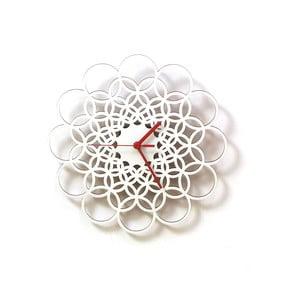 Dřevěné hodiny Rings bílé, 29 cm