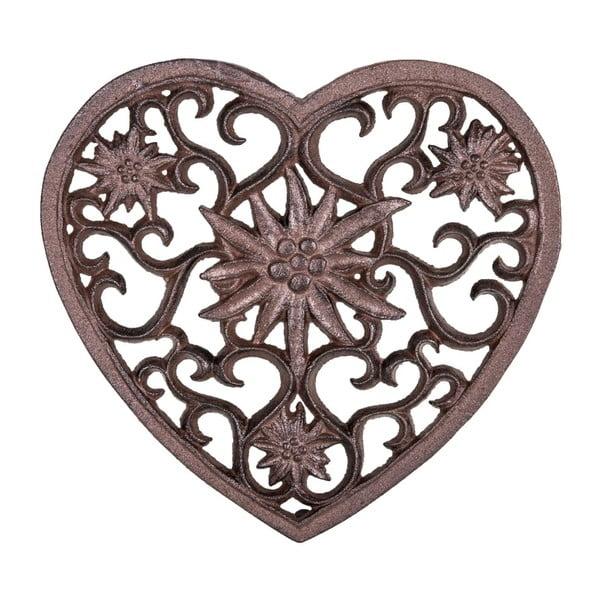 Hnědá litinová podložka pod horké nádoby ve tvaru srdce Antic Line