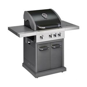 Černý plynový gril se 3 samostatně ovladatelnými hořáky, teploměrem a bočním ohřívačem Jamie Oliver Pro