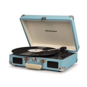 Světle modrý gramofon Crosley Cruiser Deluxe
