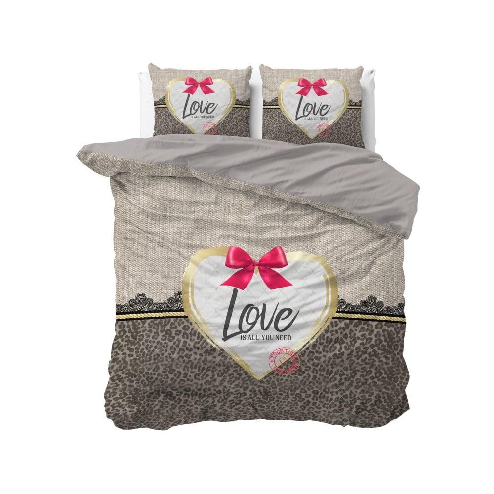 Hnědé bavlněné povlečení na dvoulůžko Sleeptime Wild Love, 200 x 220 cm