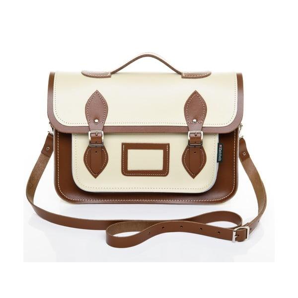 Kožená kabelka Satchel 29 cm, krémová a hnědá
