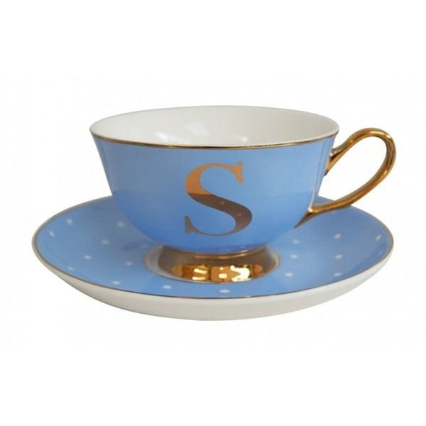 Modrý   hrnek a podšálek s písmenem S Bombay Duck