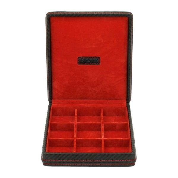 Červená etuje na manžetové knoflíčky Friedrich Lederwaren Carbon