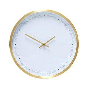Bílé nástěnné hodiny s rámečkem ve zlaté barvě Hübsch Ib