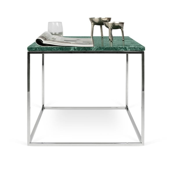 Zelený mramorový konferenční stolek s chromovými nohami TemaHome Gleam, 50 cm