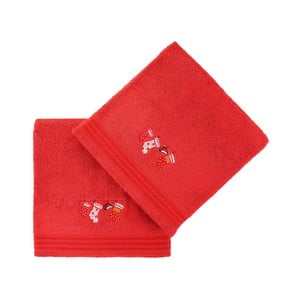 Sada 2 červených osušek Gifts, 70x140cm