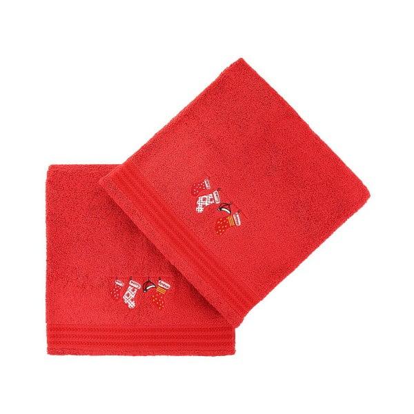 Sada 2 červených osušiek Gifts, 70x140cm