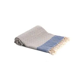 Modrá ručně tkaná osuška Ivy's Simge, 100x180cm