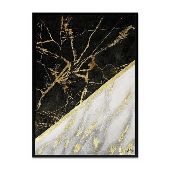Nástěnný ručně malovaný obraz JohnsonStyle Gold & Black Marble, 53 x 73 cm