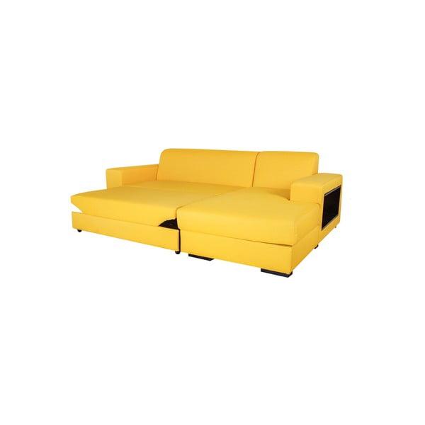 Rozkládací pohovka A-Maze s úložným prostorem 245 cm, žlutá, pravá strana