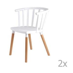Sada 2 bílých  jídelních židlí s dřevěnými nohami sømcasa Jenna