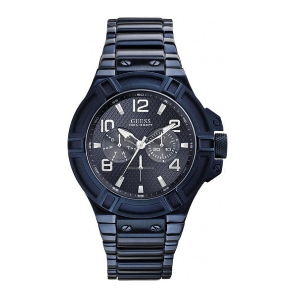 Pánské hodinky s páskem z nerezové oceli v modré barvě Guess W0218G4