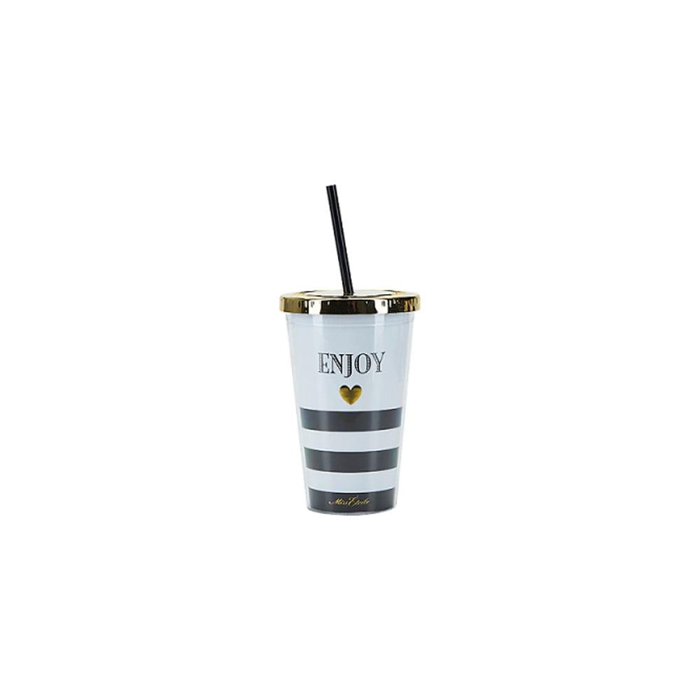 Kelímek s brčkem Miss Étoile Enjoy Stripes, Ø 10 cm