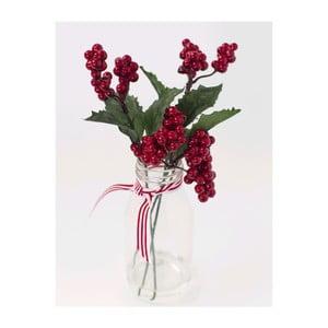 Skleněná váza s umělou květinou Berry, 25 cm