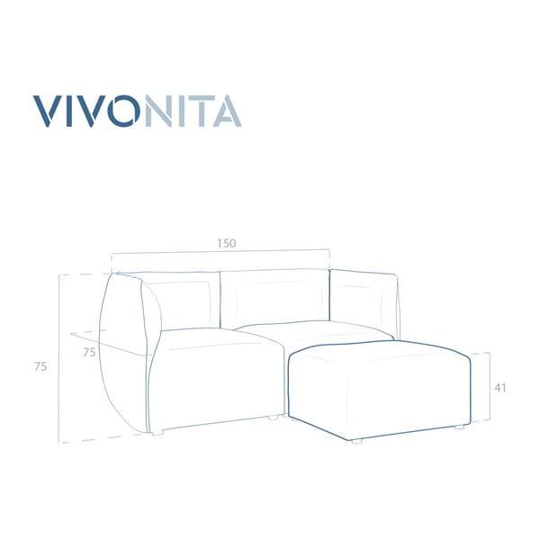 Světle šedá dvoumístná modulová pohovka s podnožkou Vivonita Cube
