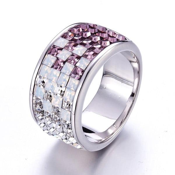 Pierścionek z białymi i fioletowymi kryształami Swarovski Elements Crystals Ron, rozm.6