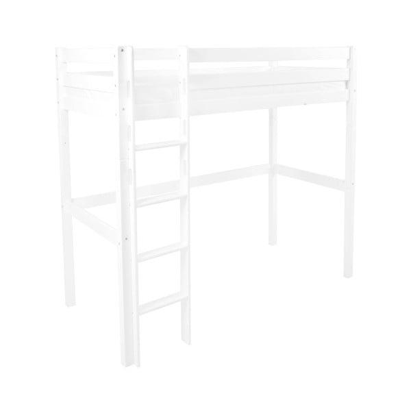 Bílá dětská patrová postel z masivního bukového dřeva Mobi furniture Luis, 200x90cm