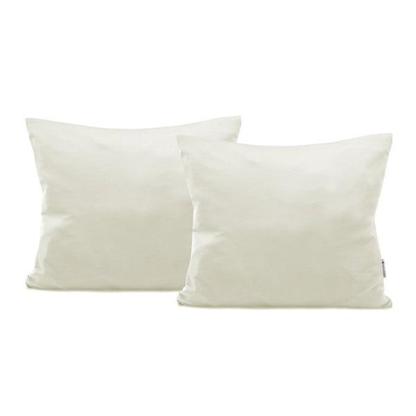 Sada 2 sivobéžových bavlnených obliečok na vankúše DecoKing Amber Ecru, 50 × 60 cm