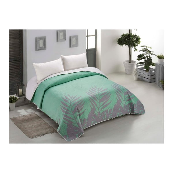 Lenjerie de pat reversibilă din micropercal AmeliaHome Makia, 240 x 260 cm, verde mentă