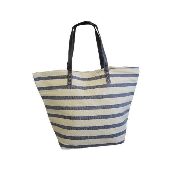 Plážová taška Stripes, béžovo - modrá