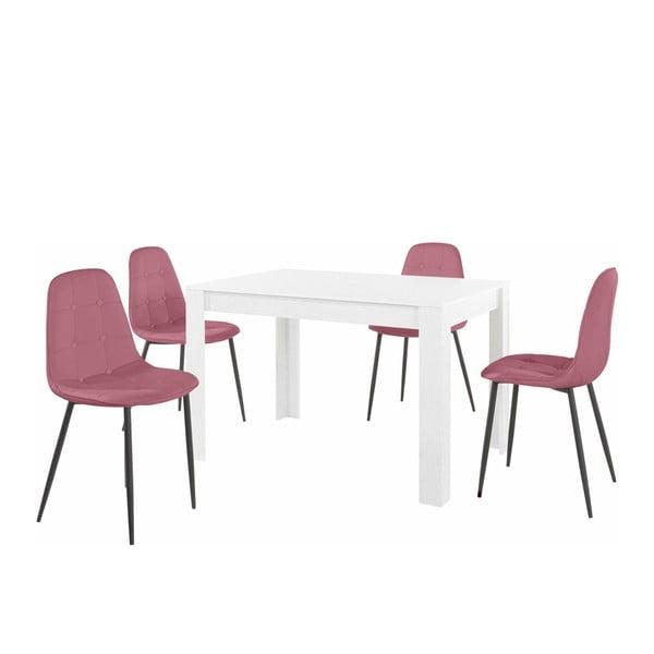 Set bílého jídelního stolu a 4 růžových jídelních židlí Støraa Lori Lamar