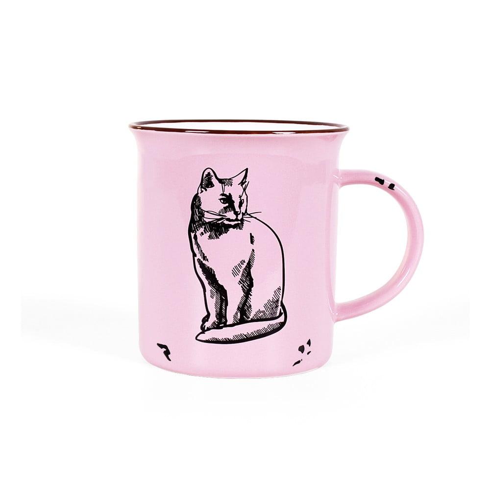 Růžový keramický hrnek Albi Kočka, 250ml