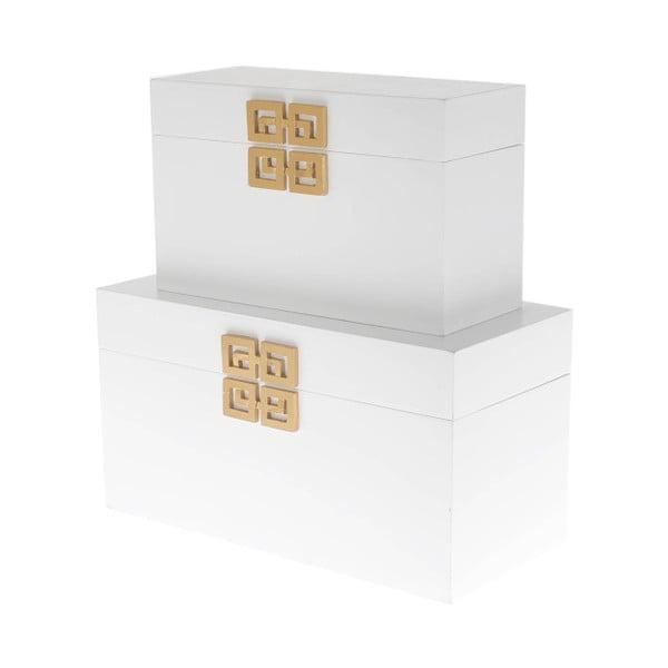 Set 2 dřevěných krabic InArt, bílý