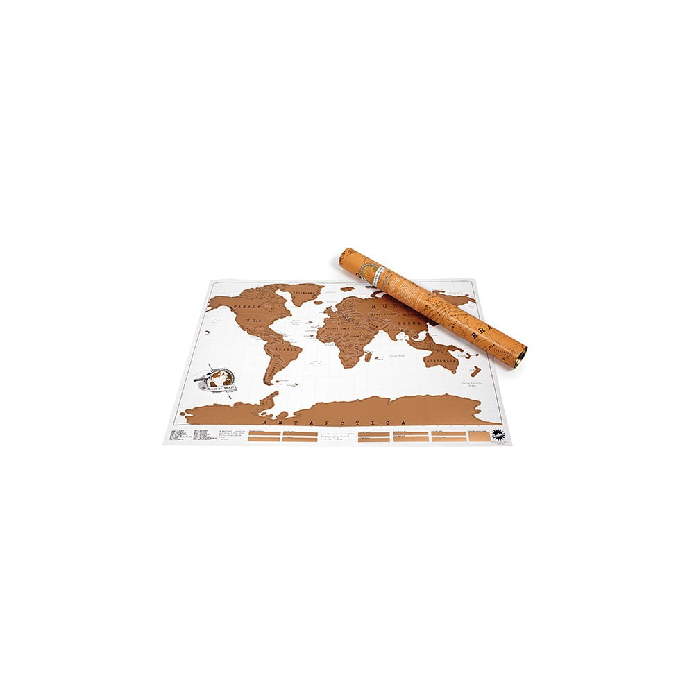 Stírací samolepicí nástěnná mapa světa Ambiance Scratch Map