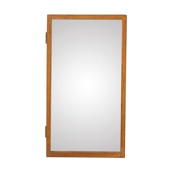 Nástěnné zrcadlo s boxem na klíče z masivního dubového dřeva Canett Uno, 25x45cm