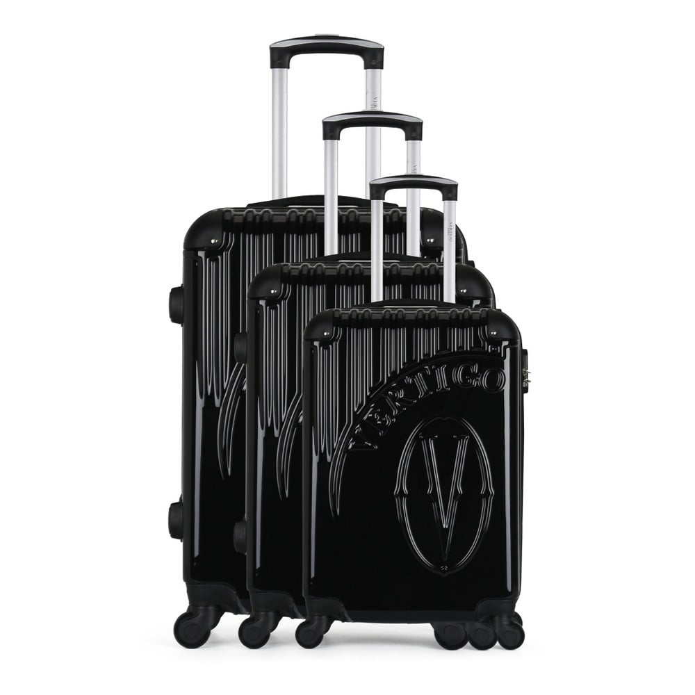 Sada 3 černých cestovních kufrů na kolečkách VERTIGO Cadenas Integre